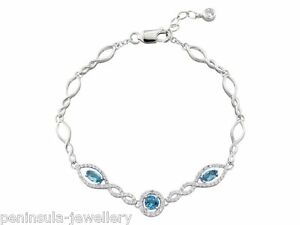 Sterling Silver Blue Topaz Bracelet Ladies 7.5 inch Hallmarked Gift Boxed