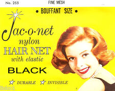 Jac-O-Net #255 Bouffant size Fine Mesh Hair Net w/Elastic (1) pcs. Black