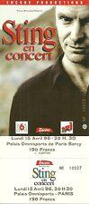 RARE / TICKET DE CONCERT - STING ( THE POLICE ) : LIVE TO PARIS ( FRANCE ) 1996
