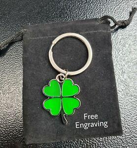 Personalised Lucky 4 Leaf Clover Shamrock Keyring | Engraved Free & Gift Bag