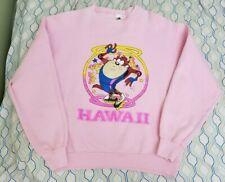 VTG 90s Looney Tunes Taz Hawaii Roller Blade Pink Crewneck Sweatshirt Small