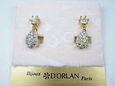 Earrings with Swarovski Crystals 1010 D'Orlan Gold Plated Screw back Clip-on