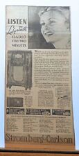 1936 newspaper ad for Stromberg Carlson Radios - Labyrinth model 160-L, 130-H