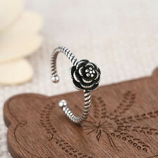 Retro Silver Plated Stainless Steel Camellia Rose Women Ring Jewelry Adjustable