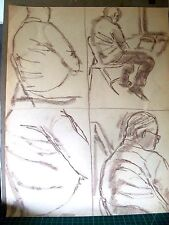 """""""SKETCHES OF A MAN"""" by RUTH FREEMAN PASTEL 17 1/4"""" X 22"""""""