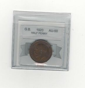 1920 Great Britain, Half Penny, Coin Mart Graded **AU-50**