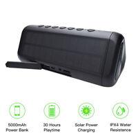SolarOutdoor WaterproofBluetooth Speaker Wireless Stereo w/ Power Bank/TF/AUX