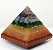 "2.1"" Seven Chakras Bonded Pyramid Polished Layered Crystal Mineral Stone India"