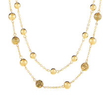 Ralph Lauren Gold Tone BEADED DELIGHT Textured Bead 2-Row Necklace $58