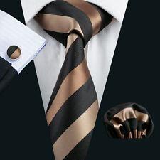 Luxus Seide Krawatte Set Schwarz Gold Braun Einstecktuch Knöpfe Breit K164