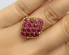 14k Solid Yellow Gold Diamond Shape Ring,Natural Oval Ruby 4TCW, Size8.5
