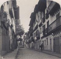 Hondarribia Scena Da Rue Spagna Stereo Vintage Analogica Ca 1920