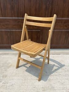 Vintage Wooden Folding Chair Mid Century Wood Slat Seat Romania USA MCM 4