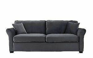 Sofamania EXP170-VV-3S 3-Seater Velvet Living Room Sofa - Gray