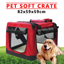 XL Soft Pet Puppy Crate Kennel Cage Carrier House Dog Cat Travel Bag Red UK Fast