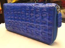 GENUINE CROCODILE WALLETS SKIN LEATHER BONE ZIPPER WOMEN'S BLUE CLUTCH BAGS