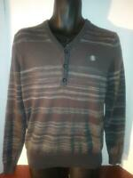 Element Men's Grey With Stripes Pull Over Sweater Shirt Size Medium
