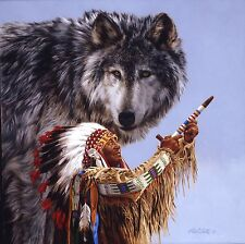 ARTIST PAUL CALLE, NATIVE AMERICAN, SPIRIT OF THE WOLF LIMITED EDITION PRINT