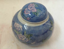 Antique Chinese Flowers Leaves Cute Small blue ginger jar/pot pottery 1970's+