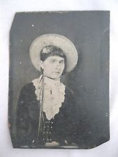 "ANTIQUE PHOTOGRAPH OF FLORIDA WOMAN~TINTYPE~UNFRAMED~3 1/2"" X 2 1/2"""