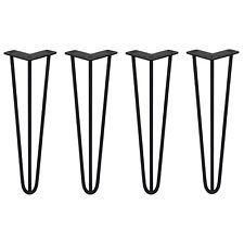 4 Gambe per Tavolo a Forcina SkiSki Legs 40,6cm Acciaio Nero 3 Rebbi 10mm