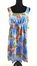 Puanani RJC Hawaiian Dress XL Blue Sleeveless Empire Tropical Flowers Aloha