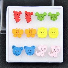 6 pairs Lovely girl's wood earring Cat Bear Butterfly Mouse