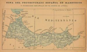Zona del protectorado Español en Marruecos. Spanish Morocco 1914 old map