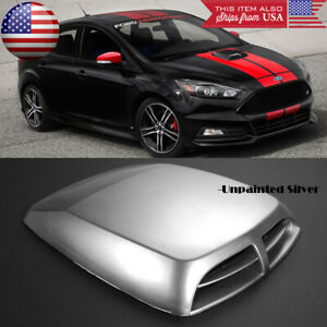 "13"" x 9.8"" Front Air Intake ABS Unpainted Silver Hood Scoop Vent For Honda Acura"