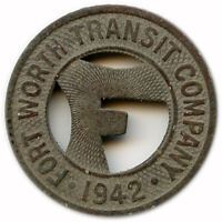 1942 Fort Worth Transit Company Fort Worth, Texas TX One Fare Transit Token