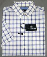 Orig $89 Hart Schaffner Marx White Blue SS Shirt Mens Size M L XL Plaid NEW