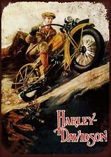 """HARLEY DAVIDSON (#1) 7.5""""x10.5"""" VINTAGE STYLE METAL SIGN WALL PLAQUE"""
