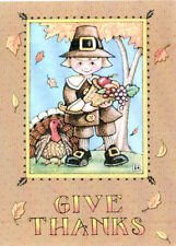 Mary Engelbreit-Give Thanks Pilgrim Turkey-Thanksgiving Card w/Envelope-New
