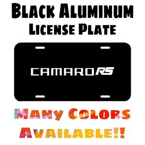 Fits Camaro RS Black Aluminum License Plate (Different Colors Available