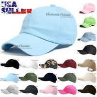 Baseball Cap Washed Cotton Strapback Adjustable Hat Plain Solid Blank Polo Men