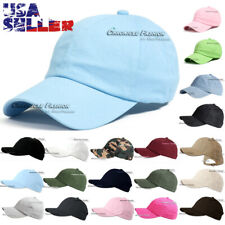 Baseball Cap Washed Cotton Strap Adjustable Plain Solid Blank Polo Style Men Hat