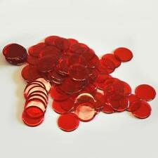 "100 RED CLEAR PLASTIC BINGO CHIPS - 7/8"" IN DIAMETER"