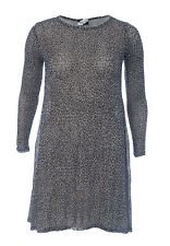 Ladies Leopard Printed Knitted Long Sleeve Swing Dress Midi Skater A-Line Flared