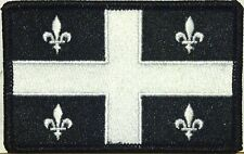 QUEBEC Flag Patch with VELCRO® brand fastener Military Tactical Black & White #4