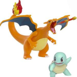 """Pokemon Fire & Water Battle Pack 4.5"""" Flame Action Charizard & 2 Squirtle Figure"""