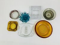Lot of 7 Vintage glass Ashtrays Retro Blue Amber Smokey Clear & Crystal Caesars