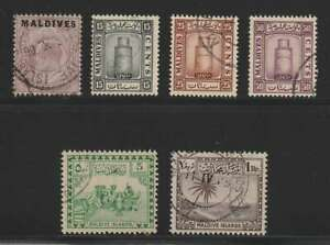 D2367: Maldive Islands #4, #16-18, 22, 28; CV $115