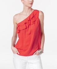 NEW(JN8377-17) Inc IRuffled One-Shoulder Top Hibiscus Bloom Sz XL $69.50