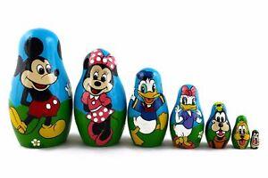 Matryoshka Russian Nesting Doll Wooden Babushka Mickey Mouse and Friends 7 Pс