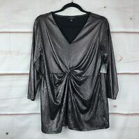 Alfani Plus Size Metallic V-Neck 3/4 Sleeve Twist-Front Womens 0X Black Knit Top