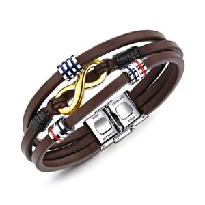 Leather Infinity Bracelet Mens Stainless Steel Gold Plated Brown Wristband Gift.