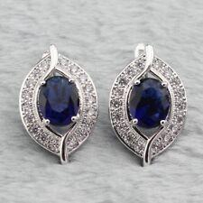 Blue Sapphire and White Topaz Sterling Silver Hoop Earrings Edwardian Eye Style