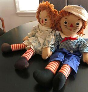 "Vintage GEORGENE Raggedy Ann &  Andy 19""  DOLLS 1958  Johnny Gruelle  original"