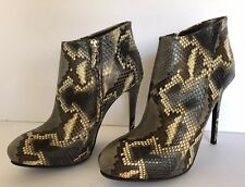 ROBERTO CAVALLI $2000 PYTHON LEATHER ANKLE  BOOTS WITH GOLD LOGO  38.5 - 8.5