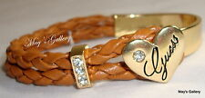 GUESS ??? Jeans Rhinestones  Bangle  Bracelet  Gold Tone Charms Heart   NWT